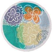 Big Flowers Round Beach Towel by Linda Woods