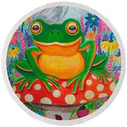 Big Green Frog On Red Mushroom Round Beach Towel