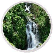Big Island Waterfall Round Beach Towel