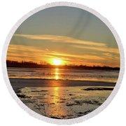 Big Marsh Sunset 4 Round Beach Towel