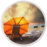 Big Orange Beach Umbrella Watercolor Painting Round Beach Towel