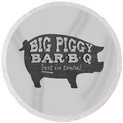 Big Piggy Bar B Q  Round Beach Towel