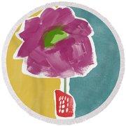 Big Purple Flower In A Small Vase- Art By Linda Woods Round Beach Towel