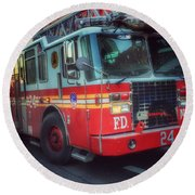 Big Red Engine 24 - Fdny - Firefighters Of New York Round Beach Towel