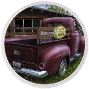 Big Red Ford Truck Round Beach Towel