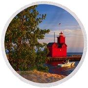 Big Red Lighthouse Round Beach Towel