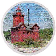 Big Red Photomosaic Round Beach Towel