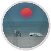 Big Red Sun - Atlantic City Round Beach Towel