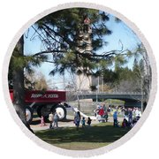 Big Red Wagon In Riverfront Park Round Beach Towel