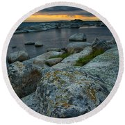 Big Rocks And Storm Clouds Round Beach Towel