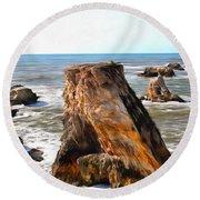 Big Rocks In Grey Water Painting Round Beach Towel