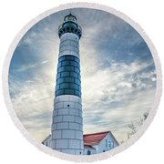 Big Sable Light On Lake Michigan Round Beach Towel