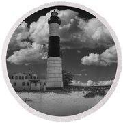Big Sable Lighthouse Under Cloudy Skies Round Beach Towel