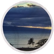 Over Molokai Round Beach Towel