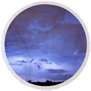 Big Sky With Small Lightning Strikes In The Distance Round Beach Towel by James BO  Insogna