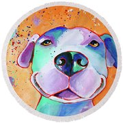 Big Smile - Dog Art By Valentina Miletic Round Beach Towel