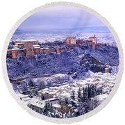 Big Snow In The Alhambra Granada  Round Beach Towel