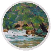 Big Spring On The Current River Round Beach Towel