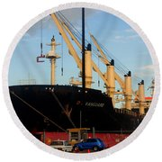 Big Tanker In The Harbor Round Beach Towel