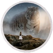 Big Tiger Round Beach Towel