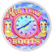 Big Time Boots - Nashville Hot Pink Round Beach Towel