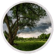 Big Tree - Tall Cottonwood And Storm In Texas Panhandle Round Beach Towel