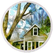 Big Tree Standing Tall In The Front Yard Round Beach Towel