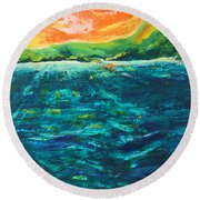 Big Tropical Wave Round Beach Towel
