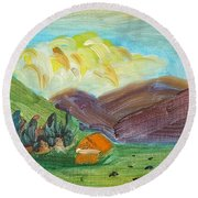 Big Valley Round Beach Towel by Steve Jorde