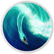 Big Wave North Shore Oahu #285 Round Beach Towel