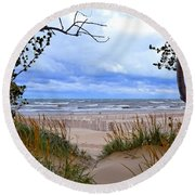 Big Waves On Lake Michigan 2.0 Round Beach Towel