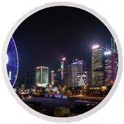 Big Wheel In Hong Kong Central Round Beach Towel