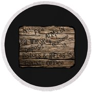 Big Whiskey Fire Arm Sign Round Beach Towel