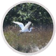 Big White Bird Flying Away Round Beach Towel