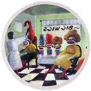 Big Wigs And False Teeth Round Beach Towel