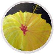 Big Yellow Hibiscus Round Beach Towel