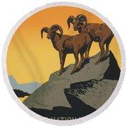 Bighornthe National Parks Preserve Wild Life Round Beach Towel