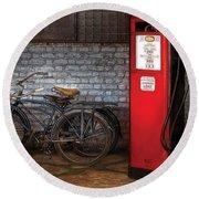 Bike - Two Bikes And A Gas Pump Round Beach Towel