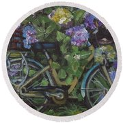 Bike And Bush Round Beach Towel