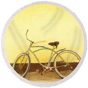 Bike And Yellow Wall Round Beach Towel