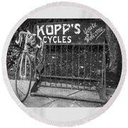 Bike At Kopp's Cycles Shop In Princeton Round Beach Towel