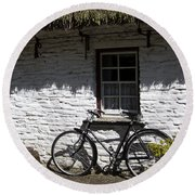 Bike At The Window County Clare Ireland Round Beach Towel
