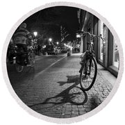 Bike Between Lights And Shadows, Netherlands Round Beach Towel