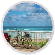 Bike Break At The Beach Round Beach Towel