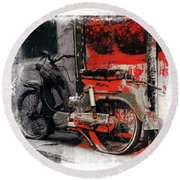 Bike Flat Tire Abandoned India Rajasthan Blue City 2a Round Beach Towel