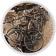 Bike Parking -- Amsterdam In November Sepia Round Beach Towel