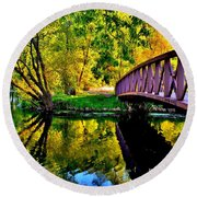 Bike Path Bridge Round Beach Towel