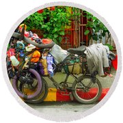 Bike Repair Shop On Wheels Round Beach Towel