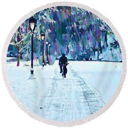 Bike Riding In The Snow Round Beach Towel by Bill Cannon