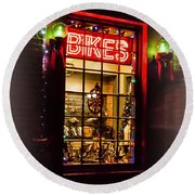 Bike Shop Window Round Beach Towel